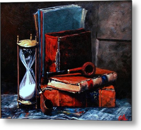 Still Life Painting Metal Print featuring the painting Time and Old Friends by Jim Gola