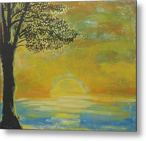 Sun Set Metal Print featuring the painting Time to go in by J Bauer