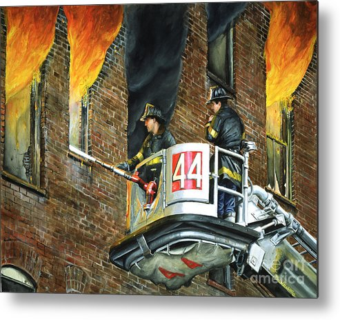 Fdny Metal Print featuring the painting Tower Ladder 44-south Bronx by Paul Walsh