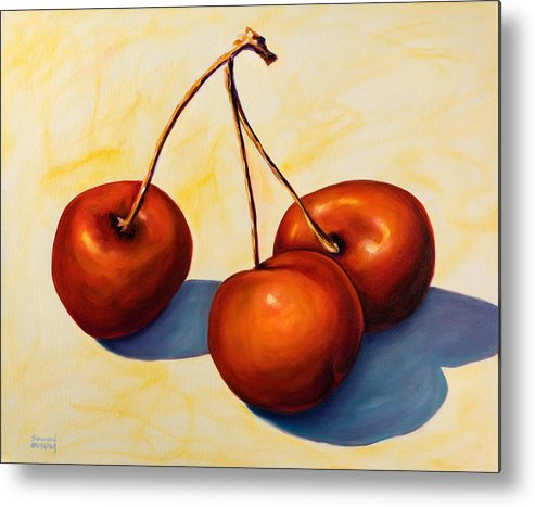 Cherries Metal Print featuring the painting Trilogy by Shannon Grissom