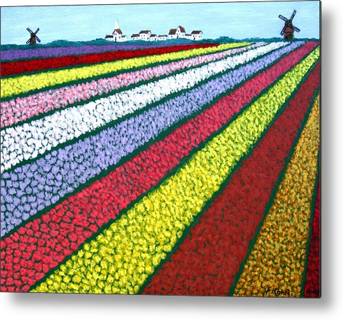 Landscape Paintings Metal Print featuring the painting Tulip Fields by Frederic Kohli