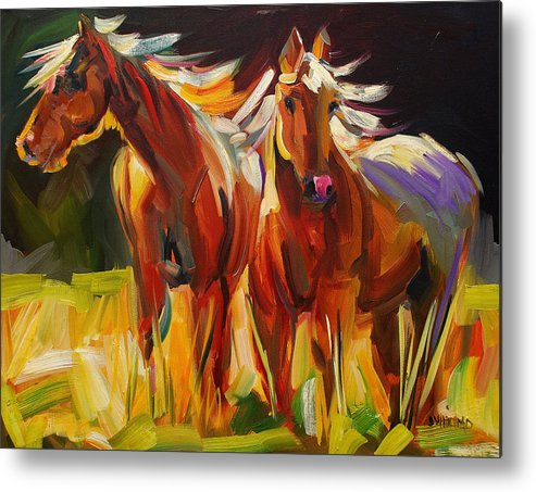 Painting Metal Print featuring the painting Two Horse Town by Diane Whitehead