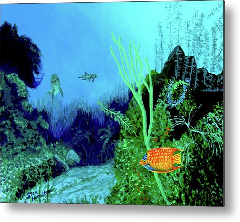 Wildlife Metal Print featuring the painting Underwater by Stan Hamilton