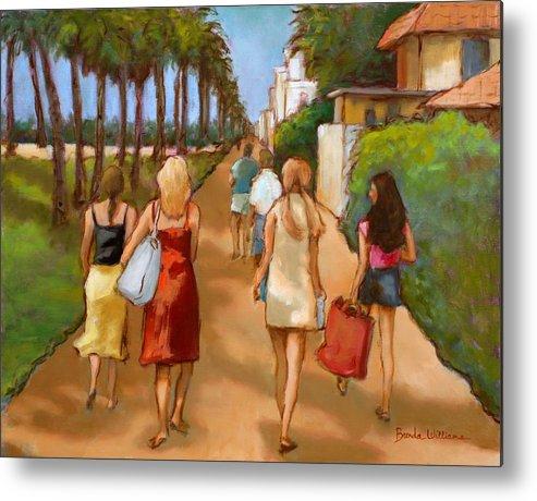 Girls Metal Print featuring the painting Venice Beach Promenade by Brenda Williams