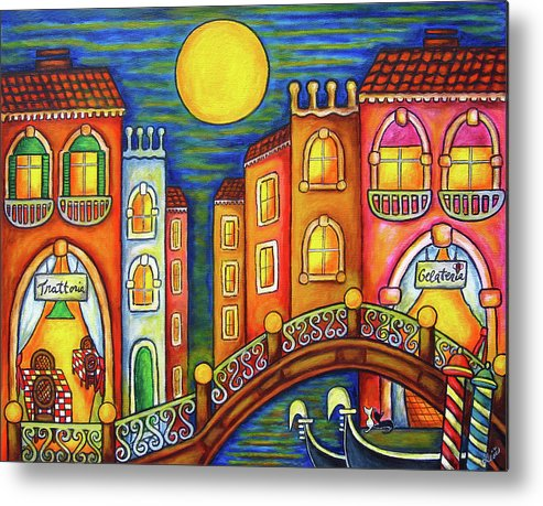 Colourful Metal Print featuring the painting Venice Soiree by Lisa Lorenz