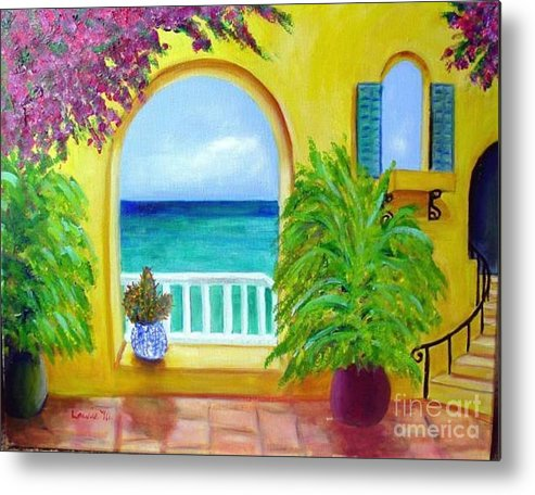 Patio Metal Print featuring the painting Vista Del Agua by Laurie Morgan