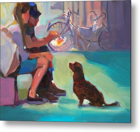 Dog Metal Print featuring the painting Watching And Waiting by Merle Keller