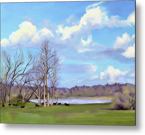 Cows Metal Print featuring the painting Watering Hole with Cows by Mary Chant