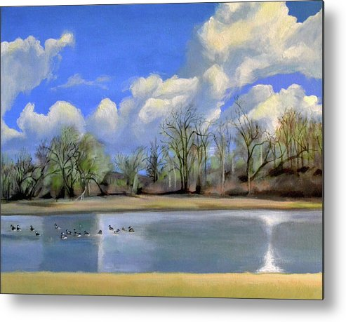 Vancouver Metal Print featuring the painting Watering Hole with Geese by Mary Chant