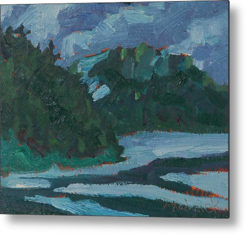 1974 Metal Print featuring the painting Wet Evening On The Dumoine by Phil Chadwick