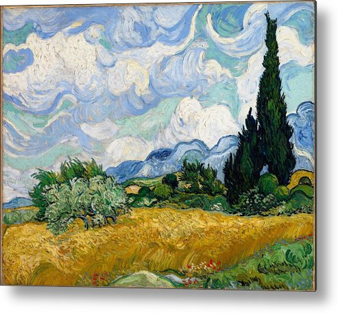 Vincent Van Gogh Metal Print featuring the painting Wheatfield With Cypresses by Van Gogh