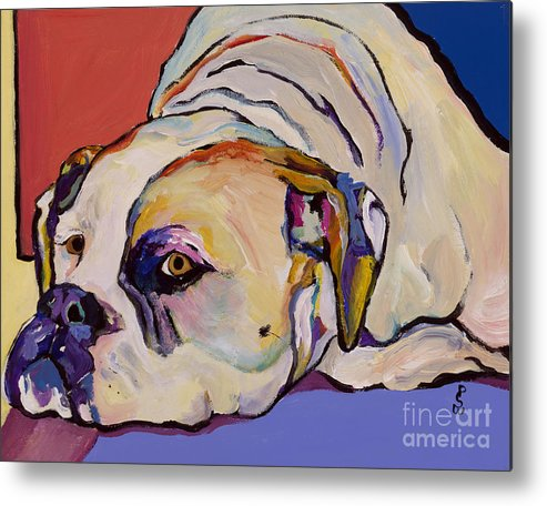 American Bulldog Metal Print featuring the painting Where Is My Dinner by Pat Saunders-White