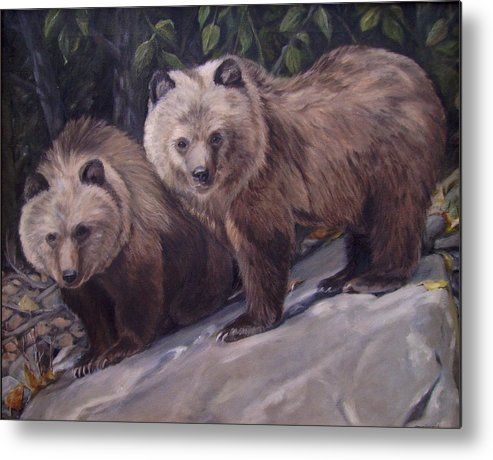 Grizzly Cubs Metal Print featuring the painting Where s Momma by Tahirih Goffic