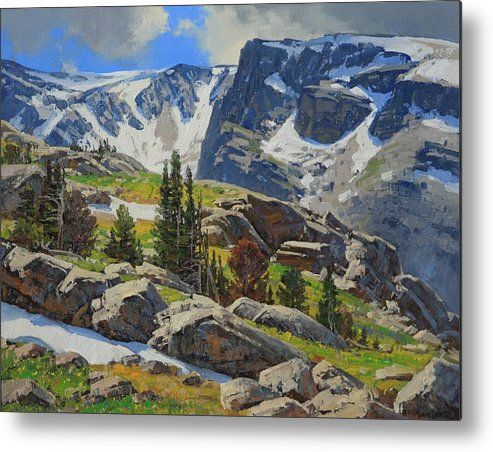 Landscape Metal Print featuring the painting Wind River Range-Wyoming by Lanny Grant