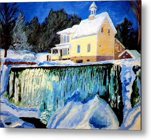 Waterfalls Metal Print featuring the painting Winter Falls by Stan Hamilton