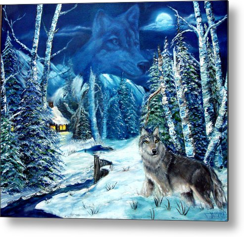 Wolf Metal Print featuring the painting Winters Night 2 by Darlene Green