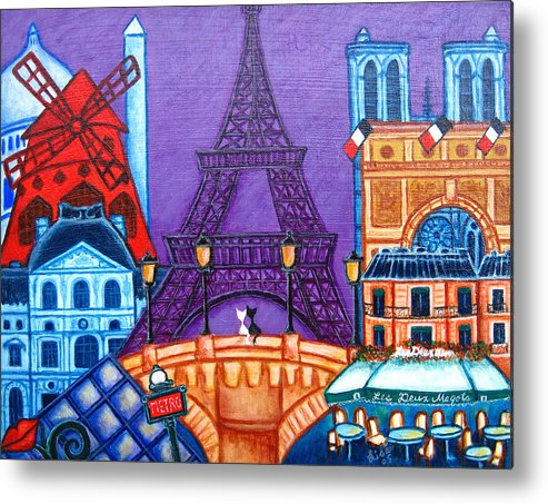 Paris Metal Print featuring the painting Wonders of Paris by Lisa Lorenz