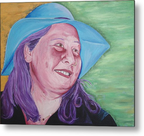Portrait Metal Print featuring the painting Yellow Blue Green Christine by Kevin Callahan