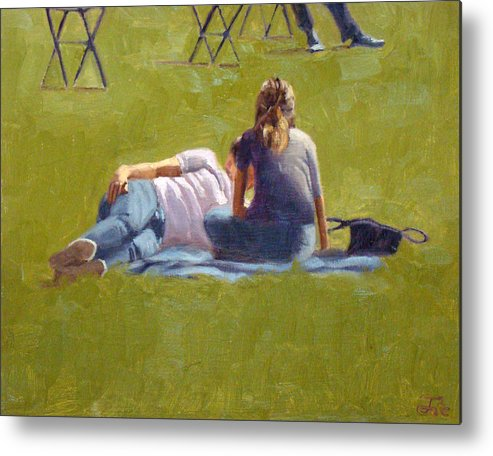 Art Work Metal Print featuring the painting You the grass and I by Tate Hamilton