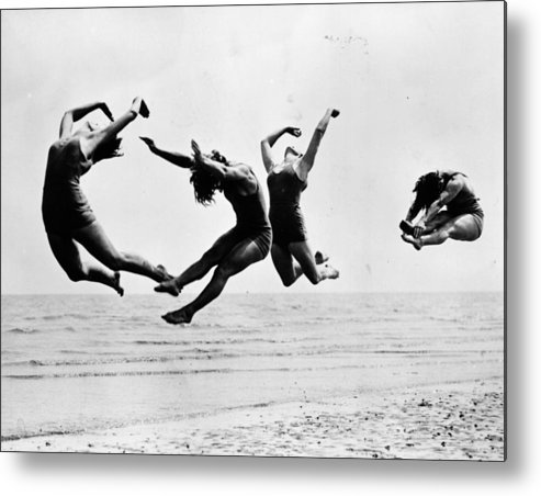 1930-1939 Metal Print featuring the photograph Beach Exercise by Reg Speller