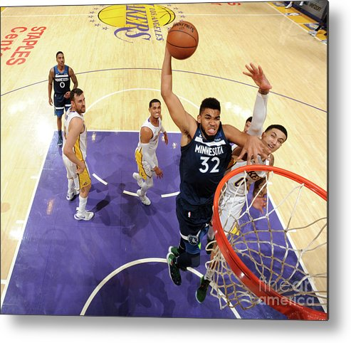 Nba Pro Basketball Metal Print featuring the photograph Minnesota Timberwolves V Los Angeles by Andrew D. Bernstein