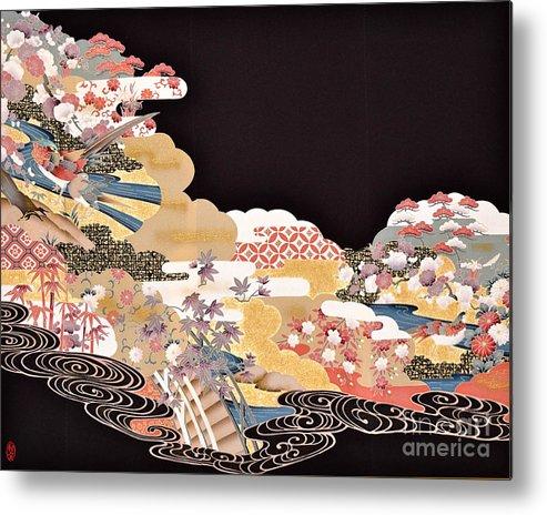 Metal Print featuring the digital art Spirit of Japan T65 by Miho Kanamori