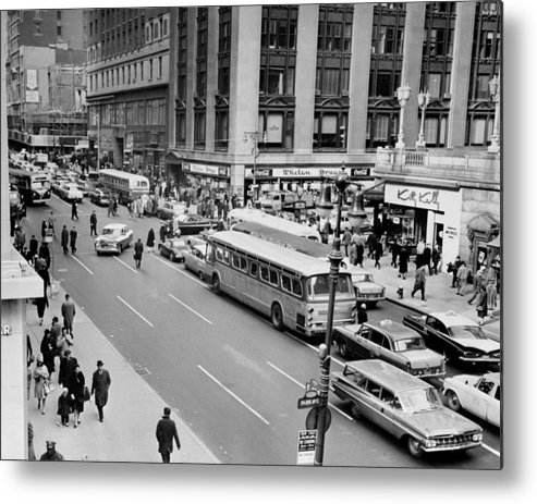 Pedestrian Metal Print featuring the photograph General View Of Pedestrians Crossing by New York Daily News Archive