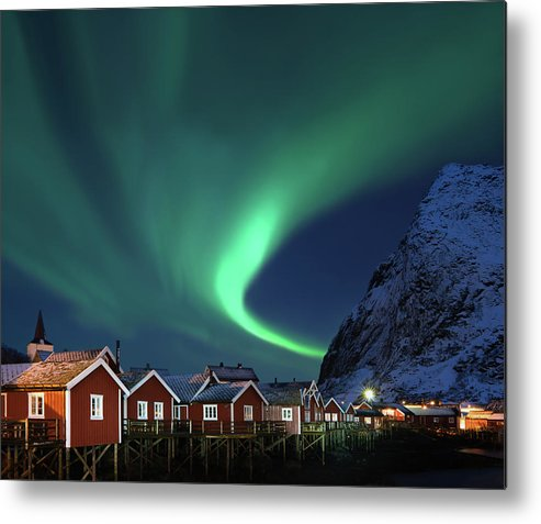 Scenics Metal Print featuring the photograph Northern Lights - Aurora Borealis Over by Relaxfoto.de