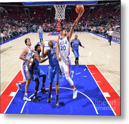 Nba Pro Basketball Metal Print featuring the photograph Philadelphia 76ers V Orlando Magic by Jesse D. Garrabrant