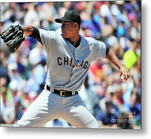 Three Quarter Length Metal Print featuring the photograph Chicago White Sox V Chicago Cubs by David Banks