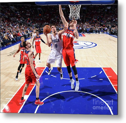 Nba Pro Basketball Metal Print featuring the photograph Philadelphia 76ers V Washington Wizards by Jesse D. Garrabrant