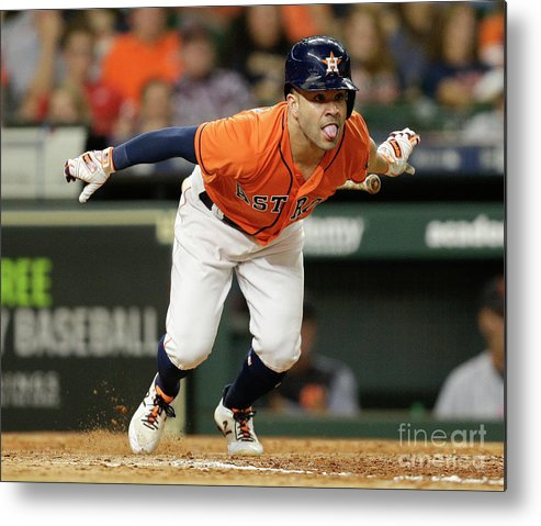 People Metal Print featuring the photograph Detroit Tigers V Houston Astros by Bob Levey