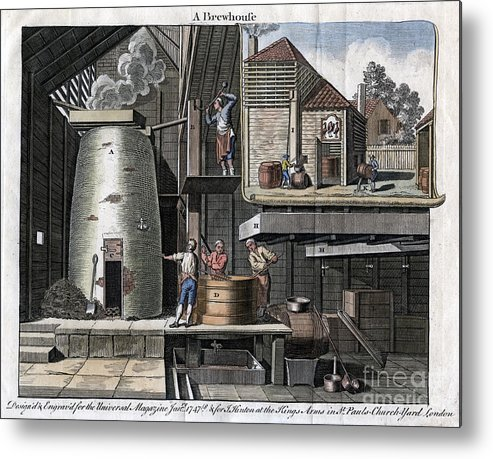 Rubbing Alcohol Metal Print featuring the drawing A Brewhouse, 1747 by Print Collector