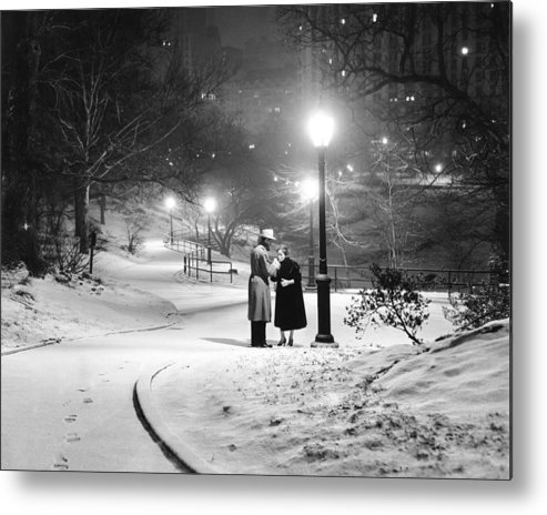 1950-1959 Metal Print featuring the photograph A Couple Pauses For A Cigarette In by New York Daily News Archive