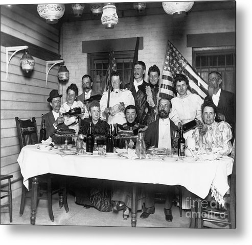 Mature Adult Metal Print featuring the photograph American Family Pouring Liquor by Bettmann