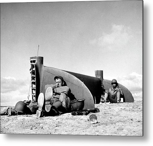 Timeincown Metal Print featuring the photograph American Soldiers In Tunisia Wwii by Margaret Bourke-white