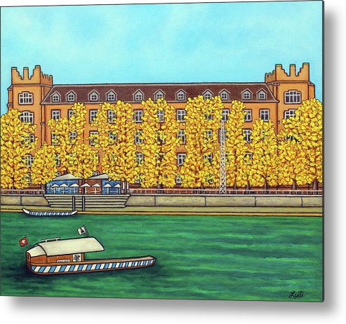 Basel Metal Print featuring the painting Basel Kaserne - Autumn by Lisa Lorenz
