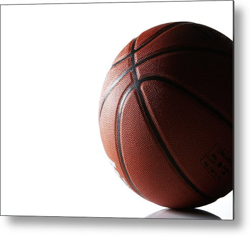 Recreational Pursuit Metal Print featuring the photograph Basketball On White Background by Thomas Northcut