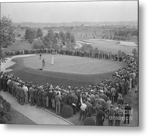People Metal Print featuring the photograph Ben Hogan Putting As Others Watch by Bettmann