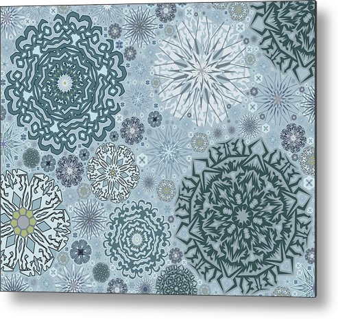 Art Metal Print featuring the digital art Blue Snowflake Pattern by Bodhi Hill