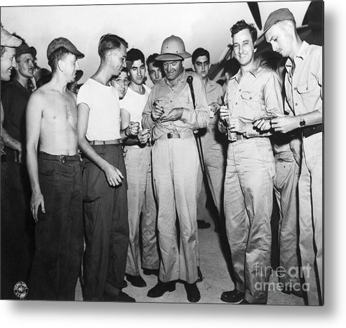 People Metal Print featuring the photograph Bob Hope Signing Autograph For Soldiers by Bettmann