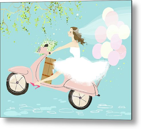 People Metal Print featuring the digital art Bride On Scooter by Eastnine Inc.