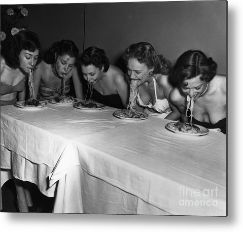 Event Metal Print featuring the photograph Broadway Showgirls Eating Spaghetti by Bettmann