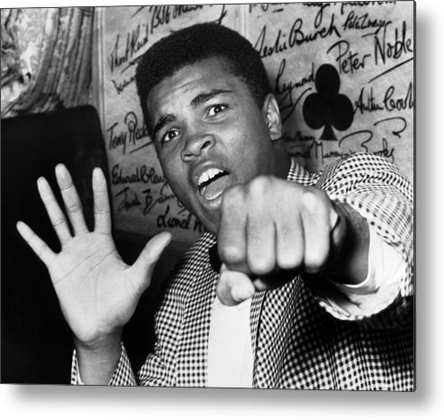 Muhammad Ali - Boxer - Born 1942 Metal Print featuring the photograph Cassius Clay Arrived In London For A by Keystone-france