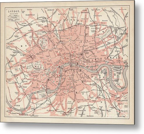 Downtown District Metal Print featuring the digital art City Map Of London, Lithograph by Zu 09