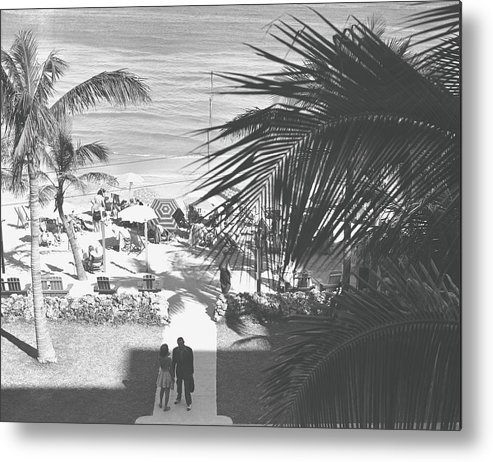 Heterosexual Couple Metal Print featuring the photograph Couple Walking In Path Towards Beach by George Marks