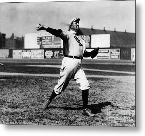 People Metal Print featuring the photograph Cy Young Boston Wind Up by Transcendental Graphics