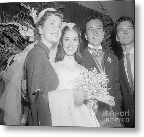 Singer Metal Print featuring the photograph Debbie Reynolds With Pier Angeli by Bettmann