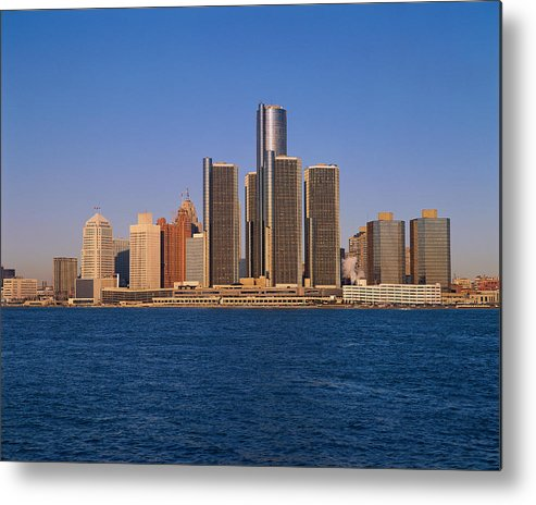 Detroit Metal Print featuring the photograph Detroit Buildings On The Water by Visionsofamerica/joe Sohm
