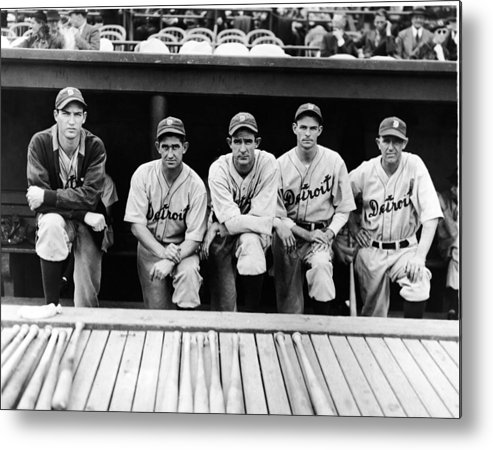 People Metal Print featuring the photograph Detroit Tigers 1935 Pitching Staff And by Fpg